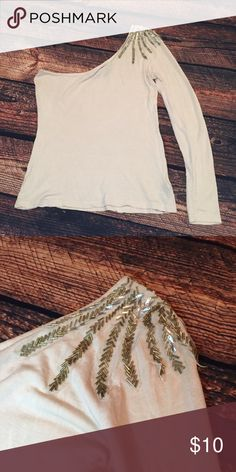 Sequin Shoulder Top One Sleeve Beautiful one shoulder top with pristine sequin detail. Tan color. Barely worn. No trades. Forever 21 Tops Tees - Long Sleeve