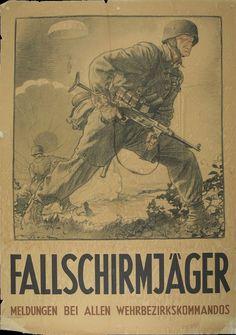 """""""Fallschirmjäger - Meldungen bei allen Wehrbezirkskommandos"""" WW2 propaganda poster"""