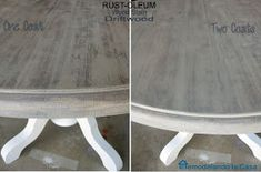 One and Two coats of Rust-Oleum Driftwood stain on table