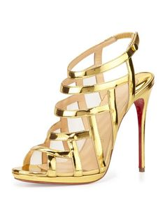 Christian Louboutin 'Nicole' Mesh-Inset Caged Red Sole Sandal, Gold | Shoes