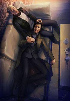 sherlock: Sherlock and John by MathiaArkoniel.deviantart.com on @deviantART: Sherlock Bbc, Benedict Sherlock, Sherlock Fandom, Sherlock Holmes John Watson, Sherlock Holmes Benedict Cumberbatch, Sherlock Quotes, Jim Moriarty, Supernatural Fandom, Sherlock Kiss