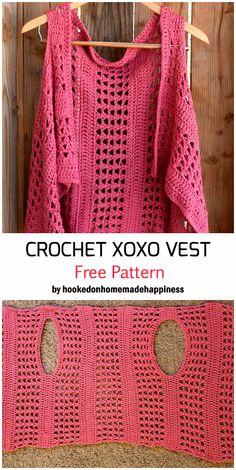 Crochet XOXO Vest - Free Pattern Crochet The XOXO Vest – Free Pattern, Free patterns for crochet beginners and beyond Gilet Crochet, Crochet Vest Pattern, Crochet Shawl, Crochet Stitches, Free Pattern, Knit Crochet, Knitting Patterns, Crochet Patterns, Crochet Vests