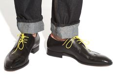 Colored dress shoelaces -- fun idea!