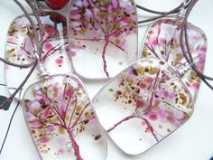 Tree of Life Fused Glass Pendant Cherry Blossoms by A KarmaBeads , via Etsy.