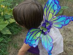 Blue Purple and Green Fairy Wings for Teens by FairyFlowerDreams, $35.00