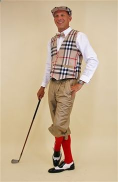 Ultimate Golf knickers Outfit with Burberry plaid vest, Cap and Tie