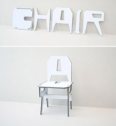 Drawing inspiration from the American contemporary artist Joseph Kosuth, One and Three Chair. Eric Ku redefined the concept of a chair by using alphabet. One is able to construct a chair by assembling the redesigned alphabets. Toledo Ohio, Chair Design, Furniture Design, Weird Furniture, Joseph Kosuth, Take A Seat, Cool Chairs, Conceptual Art, Folding Chair