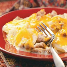 Sausage Potato Casserole.  My mom cooks like a soup....for ease she uses frozen veggie blend (onions, peppers), a bag of frozen hashbrown potatoes, and cream cheese instead of cheddar.  I think more milk for the soup base as well.  Yummy!