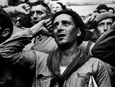 Robert Capa © International Center of Photography  | SPAIN. Montblanch, near Barcelona. October 25th, 1938. Bidding farewell to the International Brigades, which were dismissed by the Republican government, as a consequence of Stalin's friendship with Germany.