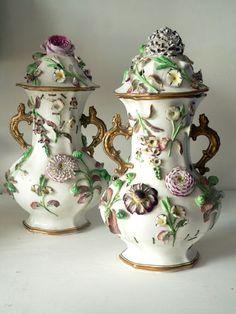 A pair of 19th century floral encrusted Potpourri vases. Coalport. Impressive.   eBay