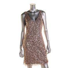 Aidan Mattox Womens Mini Sequined Cocktail Dress