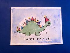 Und noch eine Glückwunschkarte für Kinder. 😊 Dinos kommen bei Kindern doch immer gut an. #kindergeburtstag #dino #glückwunschkarte #einladungskarten #kindergeburtstag #aquarell #birthday #diy #malen Watercolors, Journaling, Paintings, Art Prints, Simple, Watercolor Map, Baby Birthday, To Draw, Art Impressions
