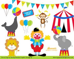 BUY 2 GET 2 FREE - Circus Clip Art Set - Digital Graphics for Personal and Commercial Use
