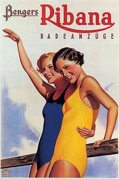 Mixed Media - Bengers Ribana Badeanzuge - Vintage Swimsuit Advertising Poster by Studio Grafiikka , Pin Up Vintage, Pub Vintage, Vintage Woman, Vintage Images, Vintage Designs, Vintage Style, Retro Poster, Poster Ads, Retro Ads