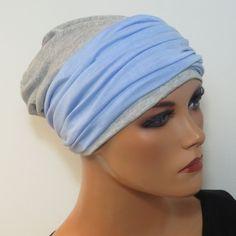 DAMEN Mütze Beaniemütze Nacht Blau Weise Muster 2 teilig Jersey Chemo Alopezie