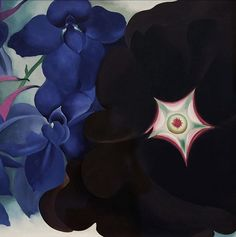 Cooling off at the Georgia O'Keeffe Museum the other day... these flowers are blooming right now! Hollyhocks in every color imaginable! . .  Black Hollyhock, Blue Larkspur.  1930. Detail .  #art #georgiaokeefe #santafe #newmexico #flowers #museum #oilpainting .