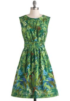 Too Much Fun Dress in Green Floral By Emily and Fin