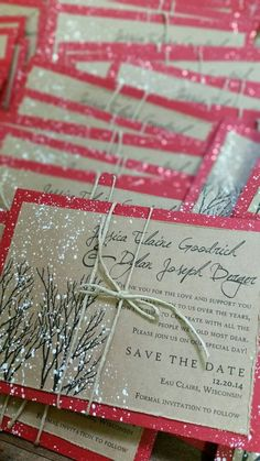 Winter wedding save the dates for Jessica by everafterpapery