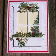 """Cardmaker unknown. Uses Memory Box """"Madison Window"""" and """"Window Box."""" Also uses Martha Stewart """"Branch"""" punch."""