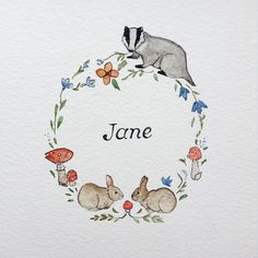 Personalised Woodland Name Wreath. If you are interested in purchasing your very own personalised wreath, please feel free to contact me, janecarkill@gmail.com. #art #artsy #artist #animals #sketch #sketching #draw #drawing #flowers #life #love #collection #nature #mushrooms #wildlife #watercolour #rabbit #rabbits #badger #toadstool #instaart #instapic #illustrator #inspiration #instaartist #illustration #instaillustration #paint #painting