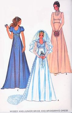 1970s Bridal Dress Wedding Gown Pattern McCalls 3770 Beautiful Romantic Empire with Long Train or Midriff Styles Includes Bridesmaid Dress Vintage Sewing Pattern FACTORY FOLDED