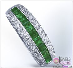 25582356436 Platinum Emerald and Diamond Wedding Band Elmas Nişan Yüzükleri