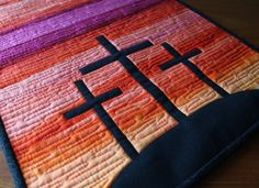 Image for Free Christian Quilt Patterns Bing Source by Small Quilts, Mini Quilts, Scrappy Quilts, Stained Glass Quilt, Cross Quilt, Baby Mobile, Patch Aplique, Table Runner Pattern, Church Banners