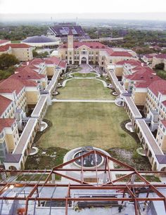 TCU from above....the main part of campus, with the stadium in the background. #gofrogs