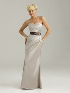 Bridesmaids dress - Chocolate - with Champagne Belt - Allure Bridals Wedding Dress Style Allure Bridesmaids 1330 | OneWed