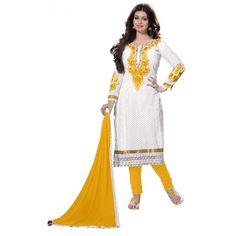 Eid Special Ayesha Takia In Designer Unstitched White & Yellow Embroidered Salwaar Suit-04(ST-Monali)Karishma