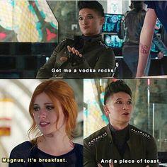 #shadowhunters #Magnus #Clary #vodka #toast #breakfast