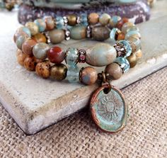 Hey, I found this really awesome Etsy listing at https://www.etsy.com/listing/180469971/aqua-terra-jasper-bracelet-set-rustic