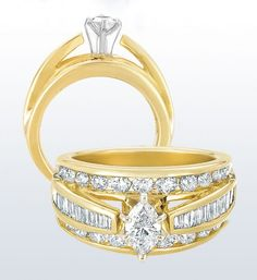Marquise Cathedral Bridge Ring with Baguette Diamond Accents 1 ...