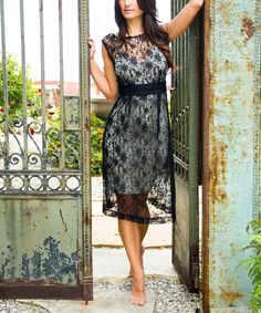 Look at this Islay Dahlia Sheer French Lace Vintage Cap-Sleeve Dress