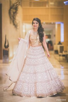 Bridal Wear - The Bride Inderpreet! Photos, Sikh Culture, Beige Color, Sangeet Makeup, Diamond Jewellery, Sangeet Jewellery pictures, images, vendor credits - JW Marriott, Taj Chandigarh, Divishth Kakkar Photography, Prerna Khullar Makeup Artist, Sabyasachi Couture Pvt Ltd, WeddingPlz