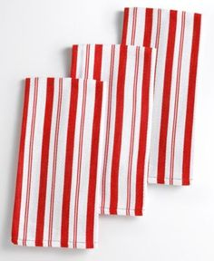 Martha Stewart Collection Basket Weave Red-Striped Kitchen Towels, Set of 3. Great for putting over lap at picnics...
