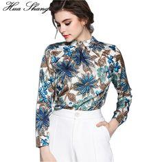 f69e247d911f6 2017 Spring Summer Women Floral Print Long Sleeve Casual Silk Blouse Shirts  OL Work Wear Office