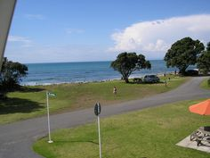 The view from the bach at the Urenui Beach Camp.