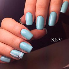 Accurate nails, Blue nail art, Bow nails, Light summer nails, Pastel nails, Plain nails, ring finger nails, Simple nail art