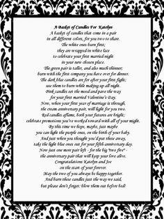 purple princess bridal shower invitations | Bridal Shower Gift: Candle Poem Basket | The NY Melrose Family