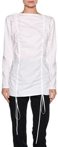 Marni Ruched Poplin Long-Sleeve Tunic, White