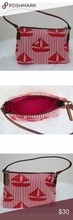 Dooney & Bourke Sailboat Zip Bag Dooney & Bourke brand. Sailboat print bag. Zip closure. Zip pocket on the inside, with a couple of extra pockets. Dooney & Bourke Bags