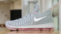 reputable site 50ad8 f2c95 Hot 2017 NBA Playoffs Shoes Cheap KD 9 COOL GREY Pink