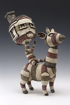 "Calvin Ma, ""Reaching,"" ceramic, glaze, stain, 13x5x10 in - Sherrie Gallerie"
