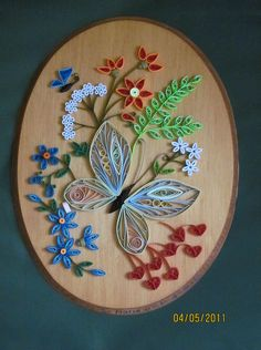 Quilled Oval Butterfly Floral - by Maria Nguyan