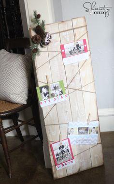 Card Display DIY.  Gift wrap display board, wrap with ribbon, pin cards to ribbon.  Hang or lean on wall.