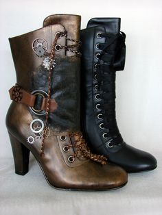 How to transform plain boots into awesome steampunk boots!~ love the braided leather laces! Diy Steampunk Costume, Viktorianischer Steampunk, Steampunk Outfits, Steampunk Wedding, Steampunk Clothing, Steampunk Fashion Women, Gothic Clothing, Steampunk Necklace, Steam Punk Diy