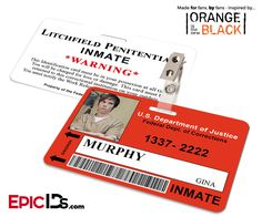 Orange is the New Black Inspired Litchfield Penitentiary Inmate Wearable ID Badge - Murphy, Gina