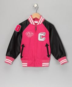 Take a look at this Pink Captain Varsity Jacket - Toddler & Girls by Hudson Outerwear on #zulily today!