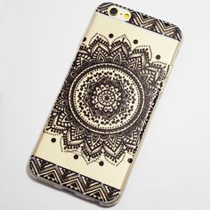 Black Large Henna Flower iPhone 6 / iPhone 6S Soft Clear Case